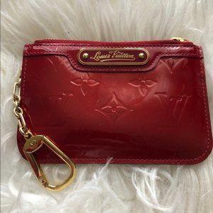 Louis Vuitton clef coin purse keychain wallet red